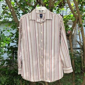 GAP Fitted Long Sleeve Striped Cotton Shirt M